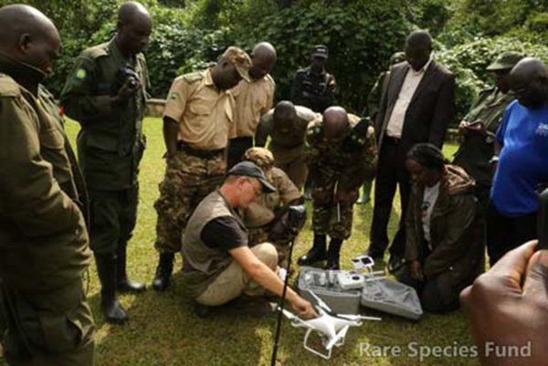 RSF team demonstrates drone to UWA Bwindi.
