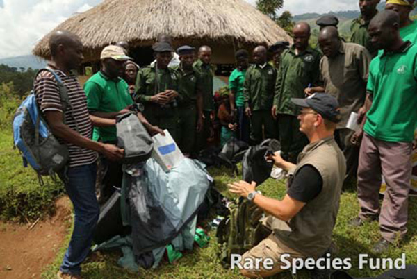 RSF staff deliver gear to rangers at the KICHIDA Headquarters at the edge of the Rwenzori Mountains National Park.