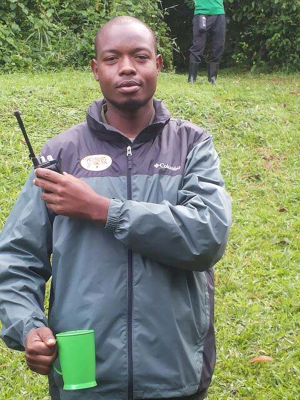 UWA ranger shows off one of the rain jackets and radios hand delivered by the RSF.